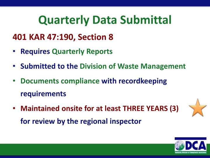 Quarterly Data Submittal