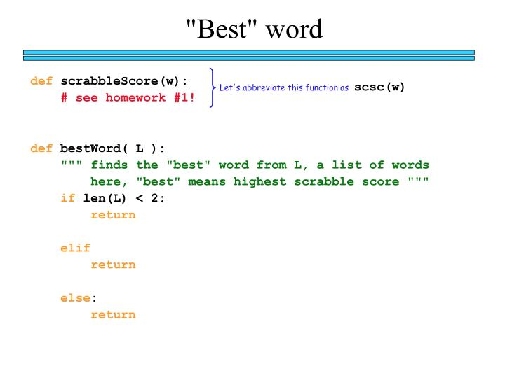 """Best"" word"