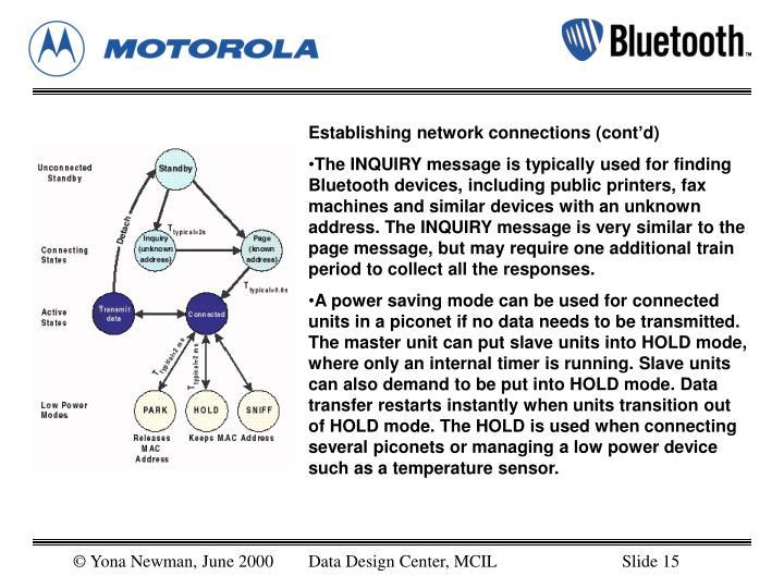 Establishing network connections (cont'd)