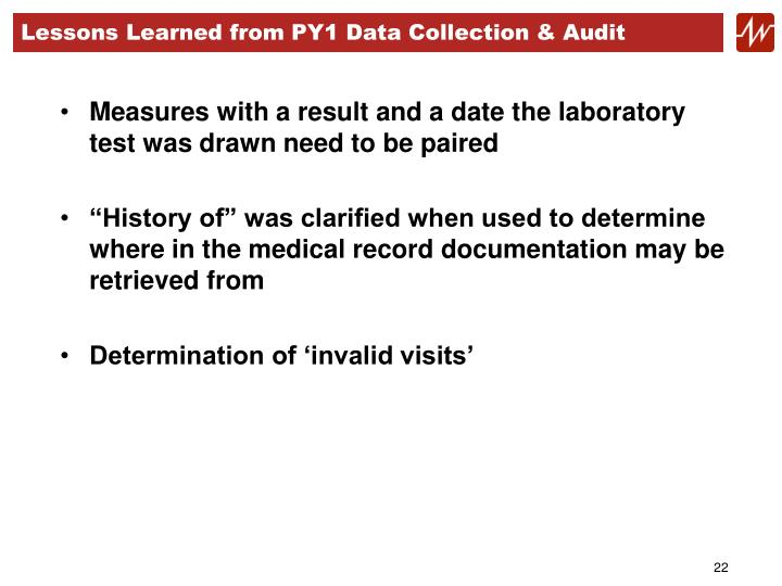 Lessons Learned from PY1 Data Collection & Audit