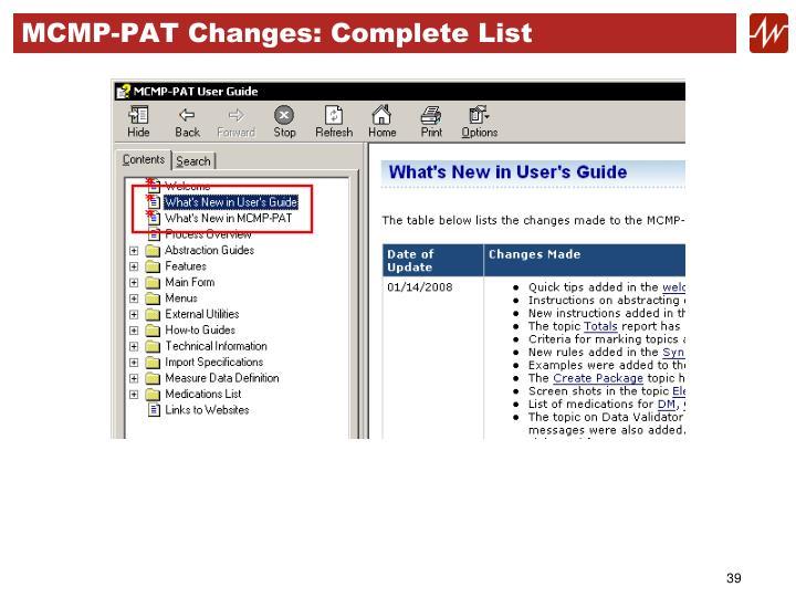 MCMP-PAT Changes: Complete List