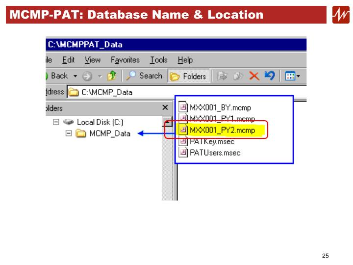 MCMP-PAT: Database Name & Location