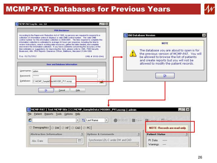 MCMP-PAT: Databases for Previous Years