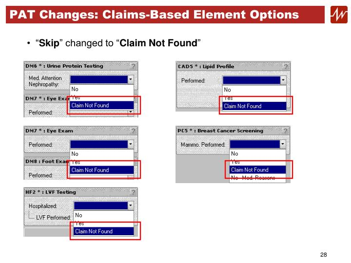 PAT Changes: Claims-Based Element Options