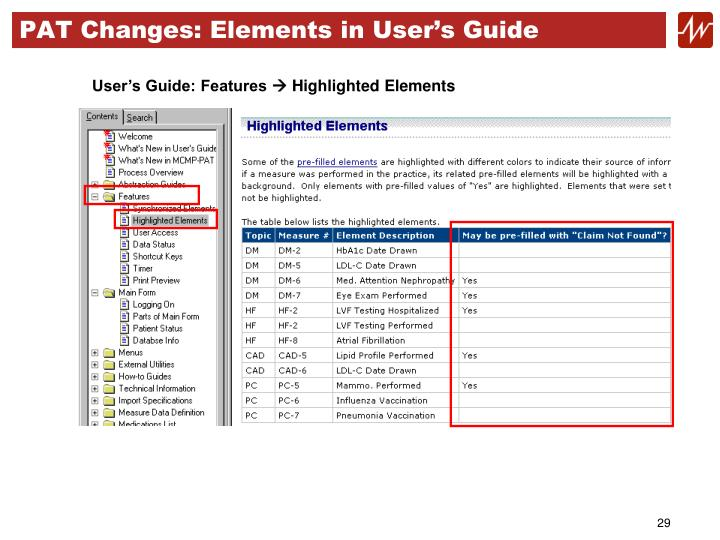 PAT Changes: Elements in User's Guide