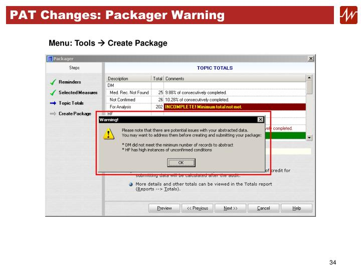 PAT Changes: Packager Warning