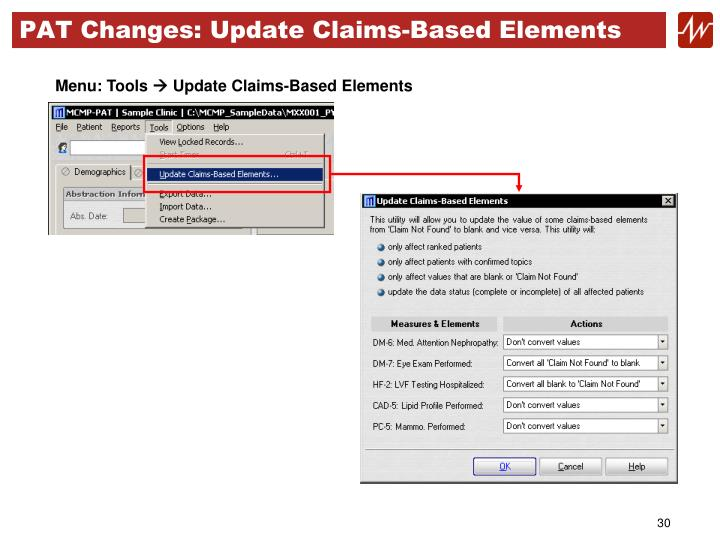 PAT Changes: Update Claims-Based Elements