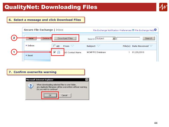 QualityNet: Downloading Files