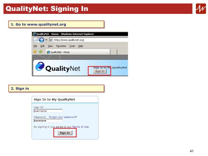 QualityNet: Signing In