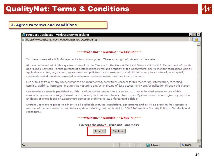 QualityNet: Terms & Conditions