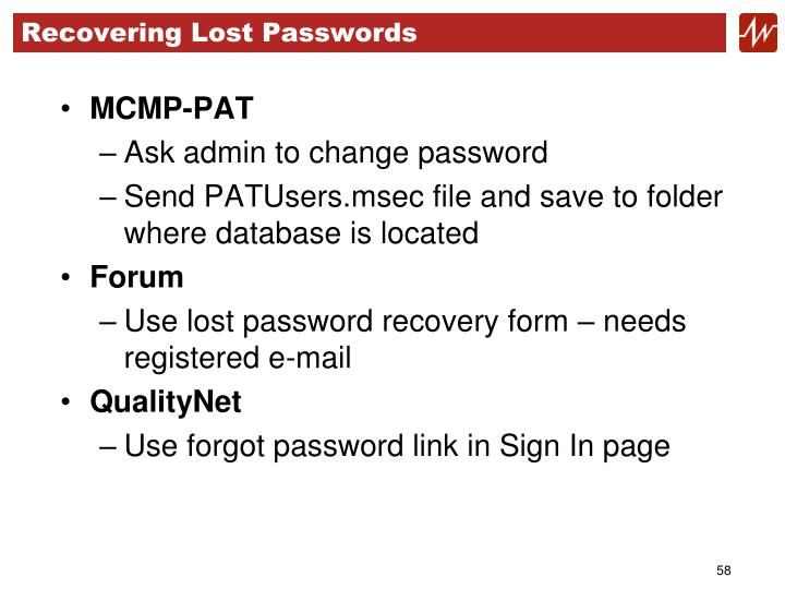 Recovering Lost Passwords