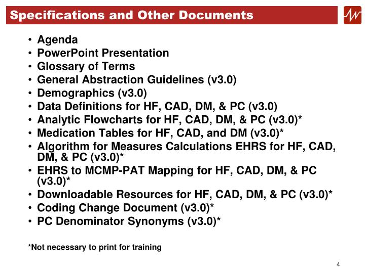 Specifications and Other Documents