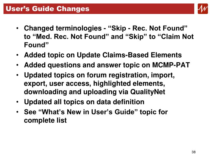 User's Guide Changes