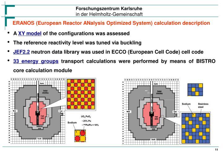 ERANOS (European Reactor ANalysis Optimized System) calculation description