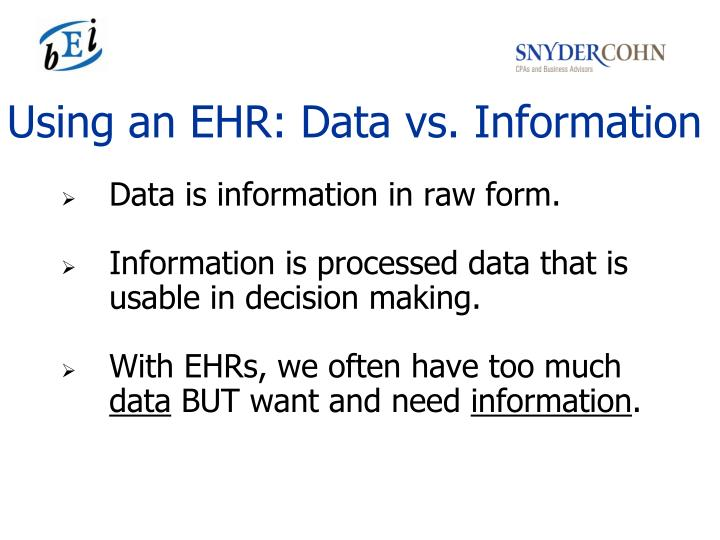 Using an EHR: Data vs. Information