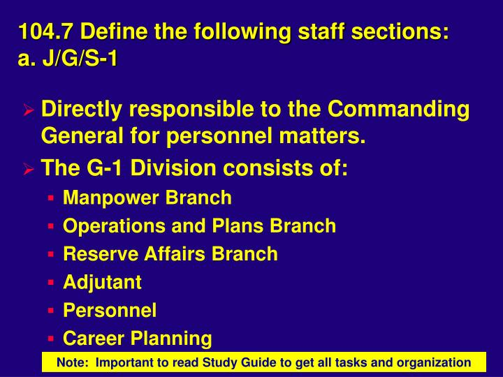104.7 Define the following staff sections: