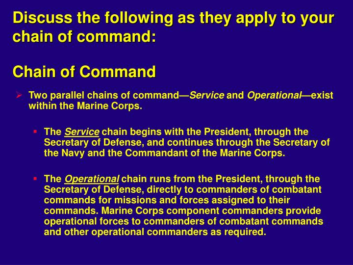 Discuss the following as they apply to your chain of command: