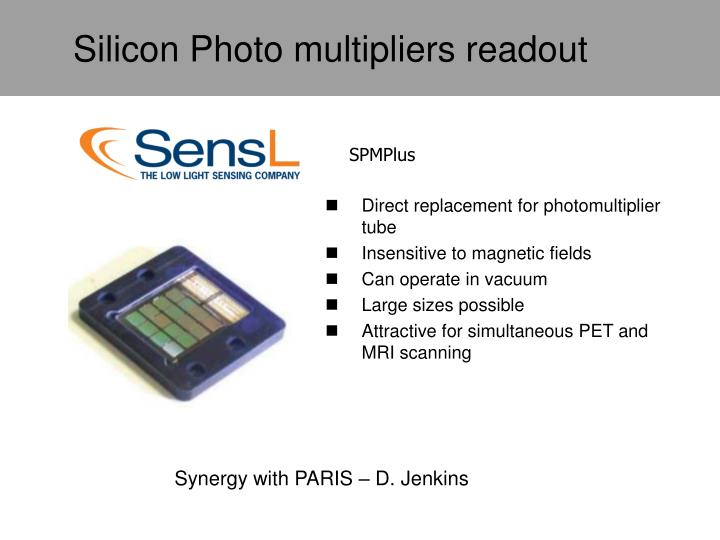 Silicon Photo multipliers readout