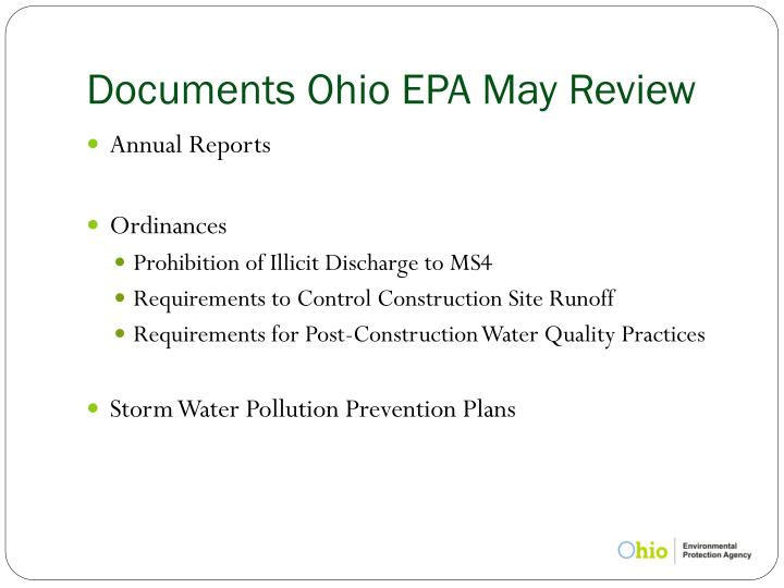Documents Ohio EPA May Review
