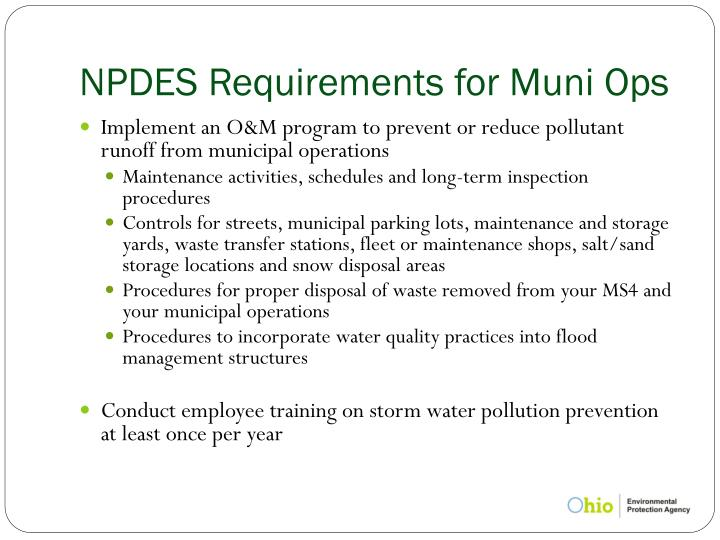 NPDES Requirements for Muni Ops