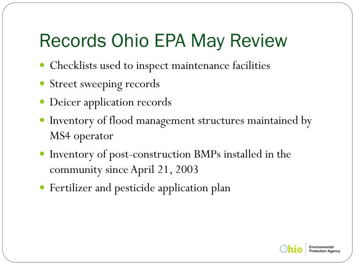Records Ohio EPA May Review