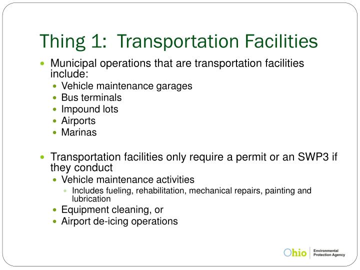 Thing 1:  Transportation Facilities