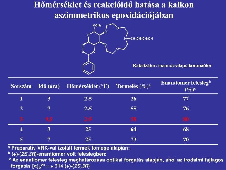 Hőmérséklet és reakcióidő hatása a kalkon aszimmetrikus epoxidációjában