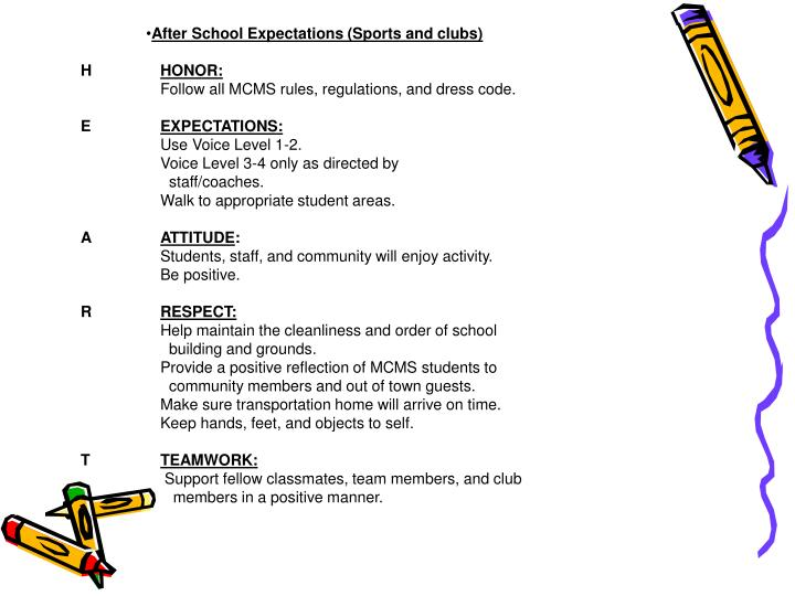 After School Expectations (Sports and clubs)