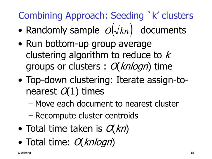 Combining Approach: Seeding `k' clusters