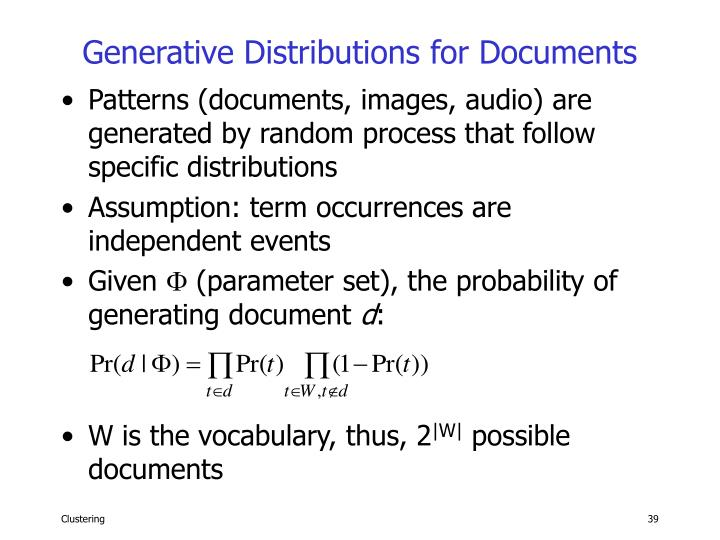 Generative Distributions for Documents