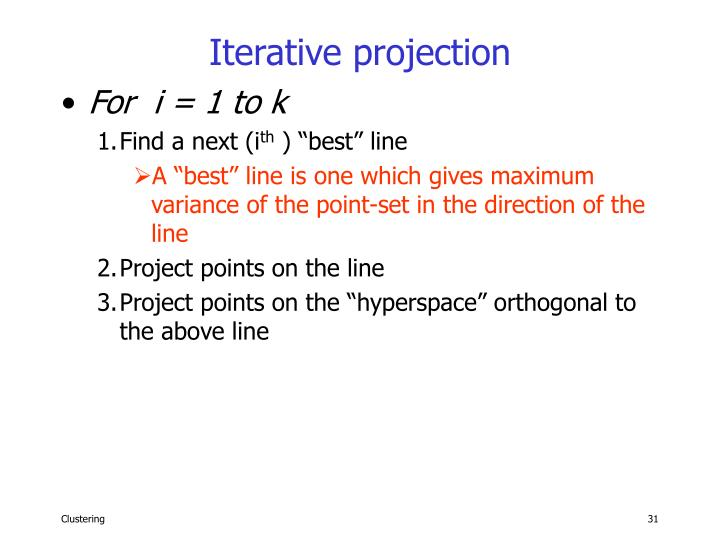 Iterative projection