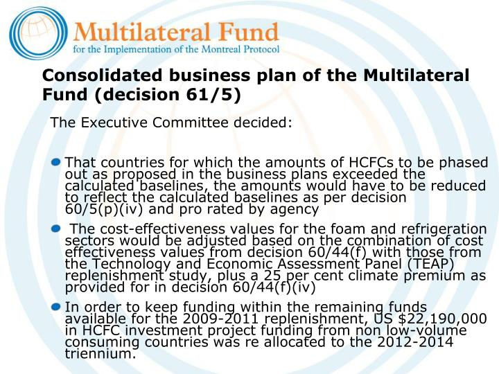 Consolidated business plan of the multilateral fund decision 61 5