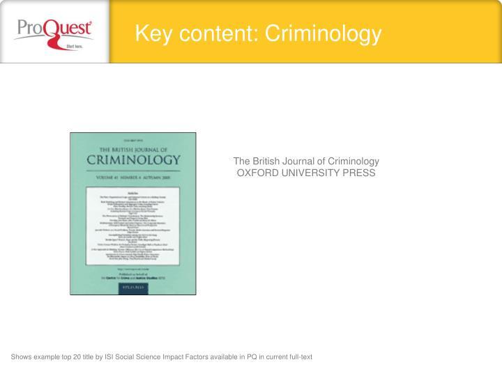 Key content: Criminology