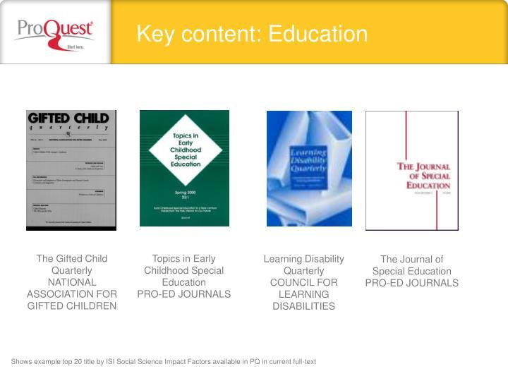 Key content: Education