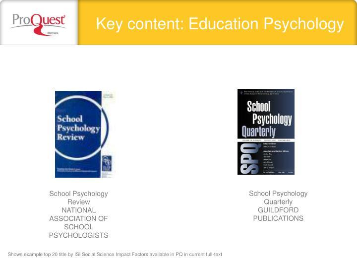 Key content: Education Psychology