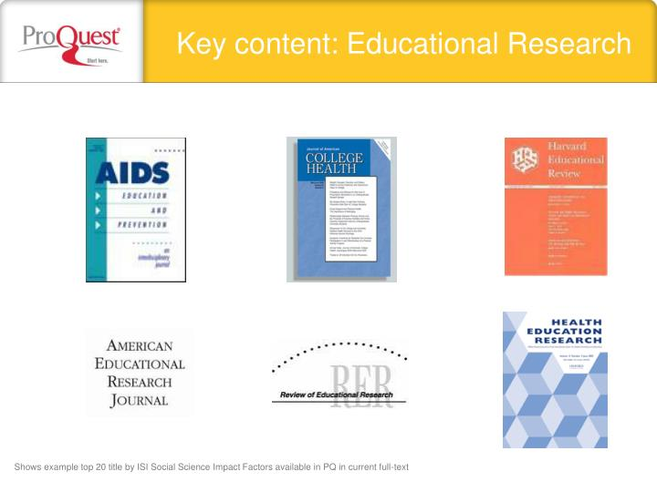 Key content: Educational Research