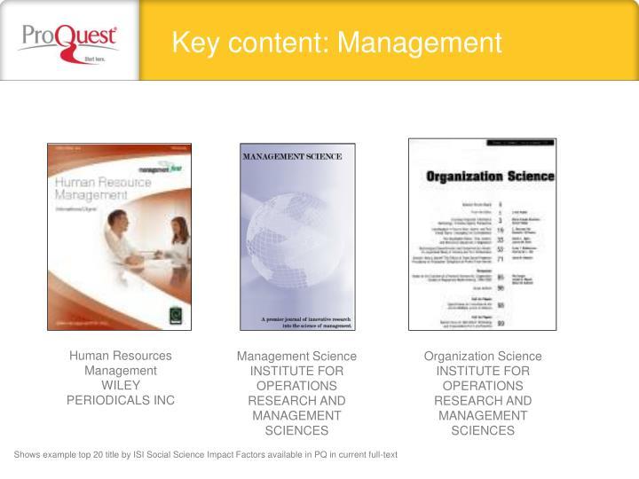 Key content: Management