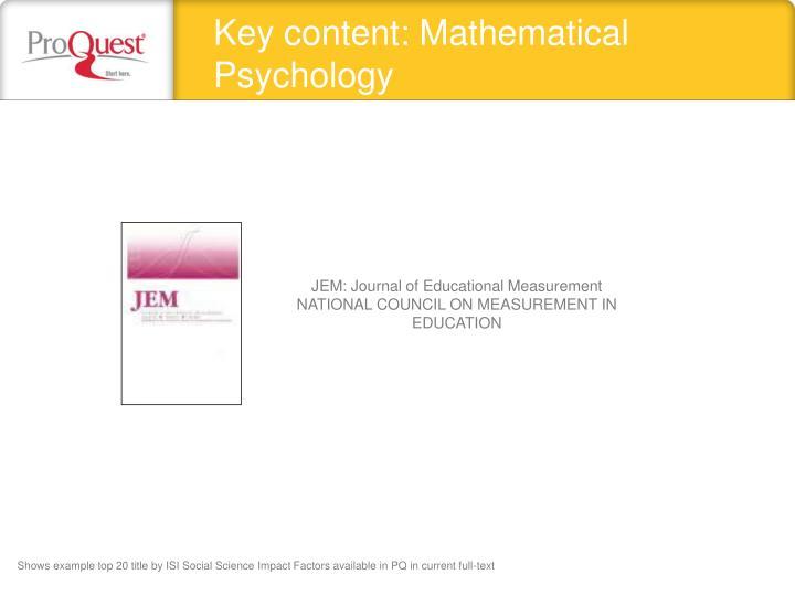 Key content: Mathematical Psychology