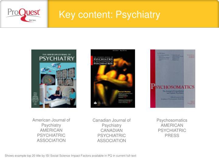 Key content: Psychiatry