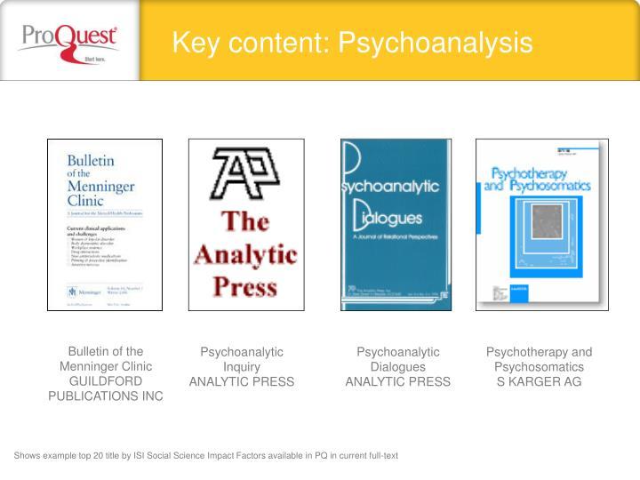 Key content: Psychoanalysis