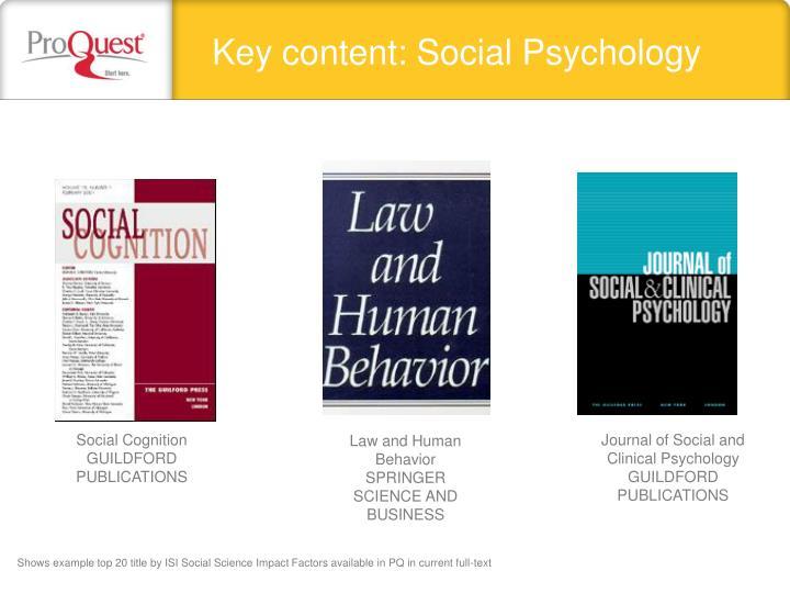 Key content: Social Psychology