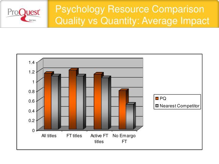 Psychology Resource Comparison