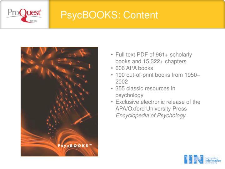PsycBOOKS: Content