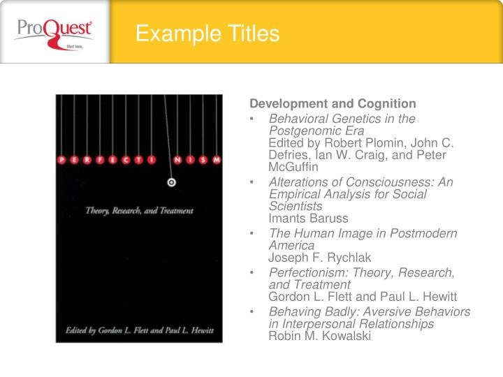 Example Titles