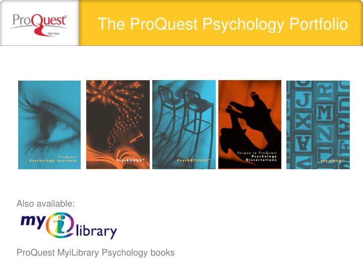 The ProQuest Psychology Portfolio