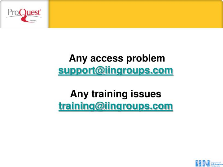 Any access problem