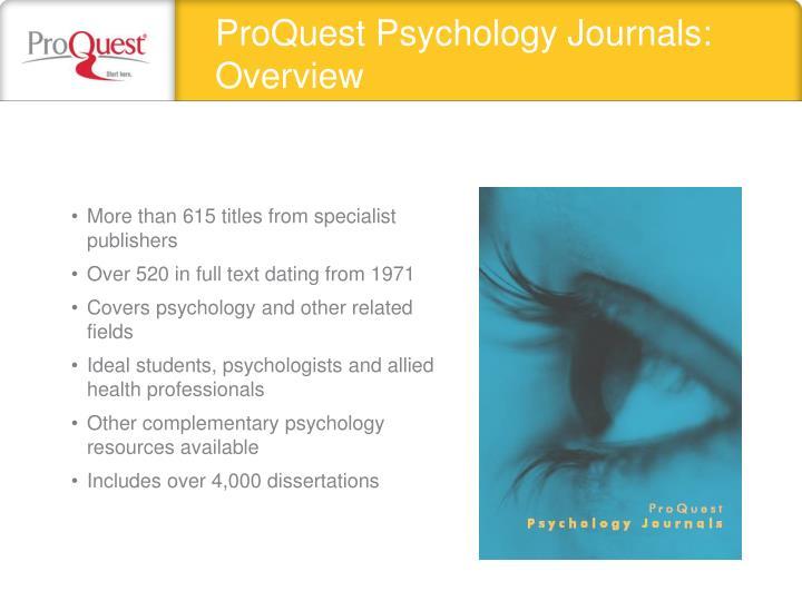 ProQuest Psychology Journals: Overview