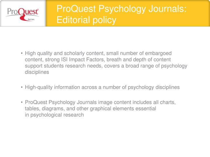 ProQuest Psychology Journals: