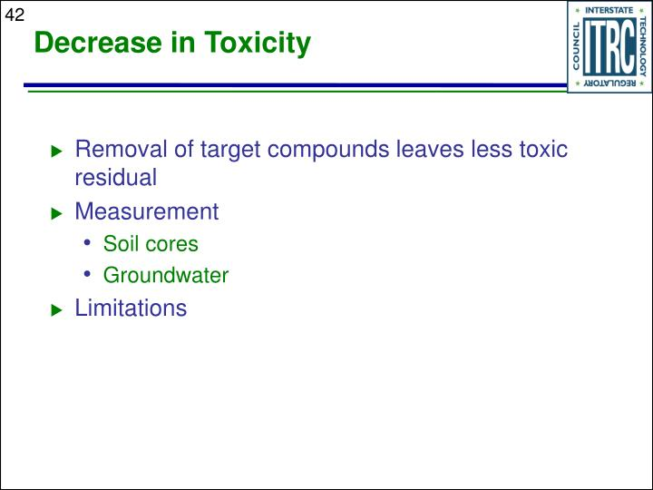 Decrease in Toxicity