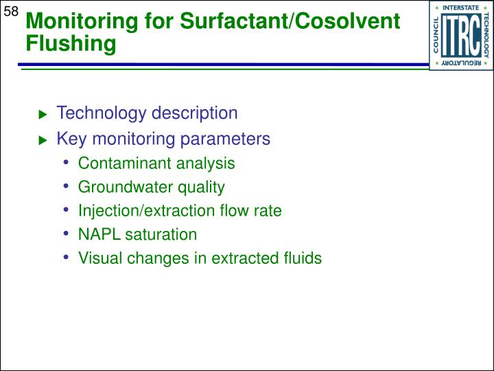Monitoring for Surfactant/Cosolvent Flushing